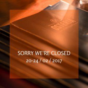 dal 20 al 24 febbraio l'osteria rabezzana sarà chiusa
